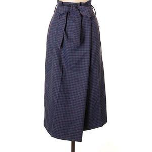 Zara Purple Plaid Wrap Around Skirt